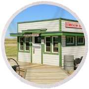 Round Beach Towel featuring the photograph Gas Station by Steve McKinzie