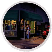 Round Beach Towel featuring the photograph Gasolinera Linea Y Calle E Havana Cuba by Charles Harden