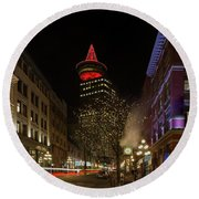 Gastown In Vancouver Bc At Night Round Beach Towel
