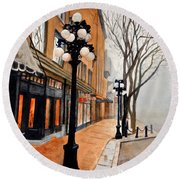 Round Beach Towel featuring the painting Gastown, Vancouver by Sher Nasser