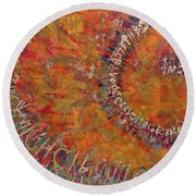 Round Beach Towel featuring the mixed media Gate Of Nimrod by Eva Konya