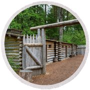 Gate To Log Camp At Fort Clatsop Round Beach Towel