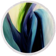 Round Beach Towel featuring the painting Gate To The Garden  By Paul Pucciarelli by Iconic Images Art Gallery David Pucciarelli
