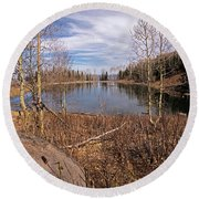 Gates Lake Ut Round Beach Towel