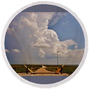 Round Beach Towel featuring the photograph Gates Of Hail by Ed Sweeney