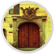 Round Beach Towel featuring the photograph Gates Of Sun. Series Golden Prague by Jenny Rainbow