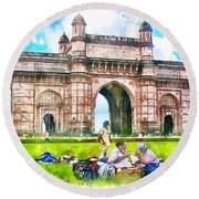 Gateway Of India Round Beach Towel