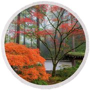 Gateway To Portland Japanese Garden Round Beach Towel