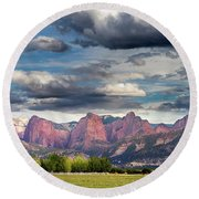 Gathering Storm Over The Fingers Of Kolob Round Beach Towel