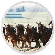 Gathering Up The Hay With A Six Horse Teamin Lancaster County Pennsylvania Round Beach Towel
