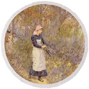 Gathering Wood For Mother Round Beach Towel