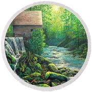 Round Beach Towel featuring the painting Gatlinburg  Tenessee Mill by Lou Ann Bagnall