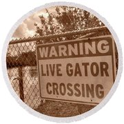 Gator Crossing Round Beach Towel