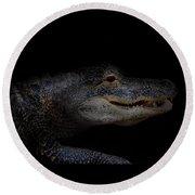 Gator In Black Round Beach Towel