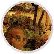 Gauguin Study In Orange Round Beach Towel