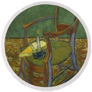 Round Beach Towel featuring the painting Gauguin's Chair by Van Gogh