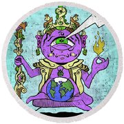 Gautama Buddha Colour Illustration Round Beach Towel