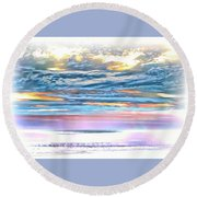 Round Beach Towel featuring the photograph Gauzy Sunset by Walt Foegelle