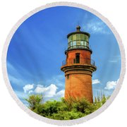 Round Beach Towel featuring the painting Gay Head Lighthouse by Christopher Arndt
