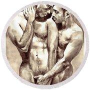 Gay Love Watercolor Round Beach Towel