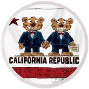 Gay Marriage In California Round Beach Towel