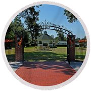 Round Beach Towel featuring the photograph Gazebo At Celebration Park by Judy Vincent