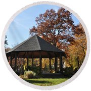 Gazebo At North Ridgeville - Autumn Round Beach Towel