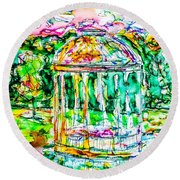 Gazebo Sunset Round Beach Towel