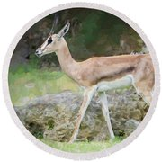 Round Beach Towel featuring the painting Gazelle Pose by Judy Kay
