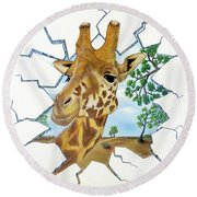 Round Beach Towel featuring the painting Gazing Giraffe by Teresa Wing