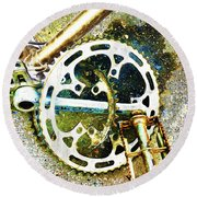 Round Beach Towel featuring the mixed media Gear by Tony Rubino