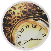 Gears Of Time Travel Round Beach Towel