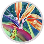 Gecko On Bird Of Paradise Round Beach Towel