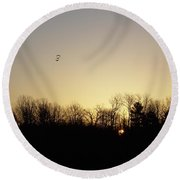 Round Beach Towel featuring the photograph Geese At Sunrise by Kent Lorentzen