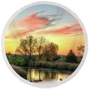Round Beach Towel featuring the photograph Geese by Fiskr Larsen