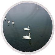 Geese In A Row Round Beach Towel