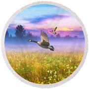 Geese In The Mist Round Beach Towel