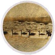 Geese On Golden Pond Round Beach Towel