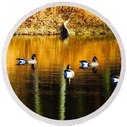 Geese On Lake Round Beach Towel