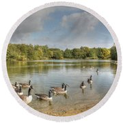 Geese On The Lake Hdr Round Beach Towel