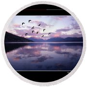 Geese Over Glacier Lake Poster Round Beach Towel