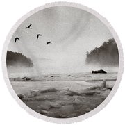 Geese Over Great Bay Round Beach Towel
