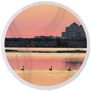 Geese Swimming On Isle Of Wight Bay Round Beach Towel