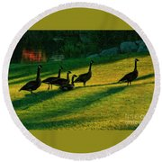 Geese The Perfect Pattern Round Beach Towel