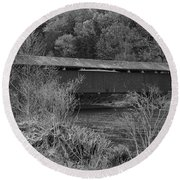 Geiger Covered Bridge B/w Round Beach Towel