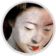 Geisha Girl Round Beach Towel