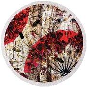 Round Beach Towel featuring the digital art Geisha Grunge by Paula Ayers