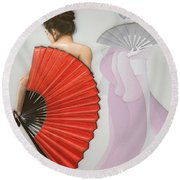 Geisha Round Beach Towel by Liane Wright