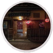 Geisha Tea House, Gion, Kyoto, Japan Round Beach Towel