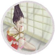 Round Beach Towel featuring the mixed media Geisha by TortureLord Art